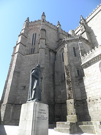 Guarda, Portugal - Sé Cathedral and the statue of Dom Sancho I