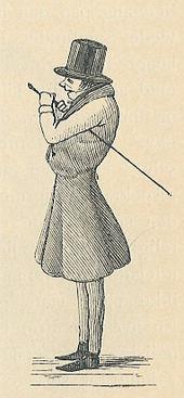 Karikaturo; la figuro eltenas fruntan al maldekstron, kun cilindro, kano, formala vesto. La karikaturo superakcentas lian dorson, per igado de li ekaperi kiel ĝibulo.