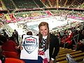SAVANNAH SMITH holding USABB SIGN at Olympics 2012.jpg