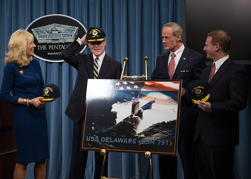 SECNAV wears his USS Delaware ball cap. (8202190525).jpg