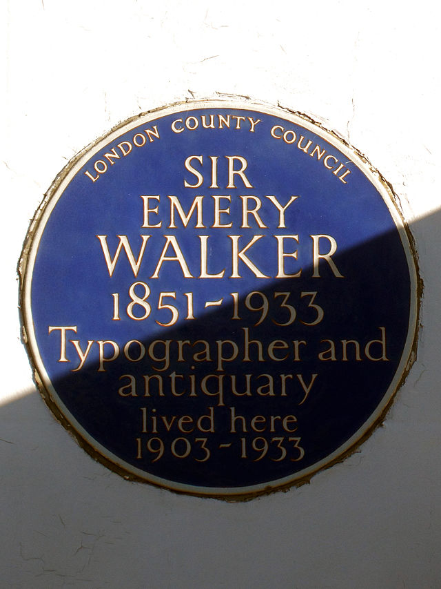 Emery Walker blue plaque - Sir Emery Walker 1851-1933 typographer and antiquary lived here 1903-1933