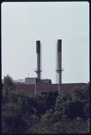 United States Environmental Protection Agency - Same smokestacks in 1975 after the plant was closed in a push for greater environmental protection