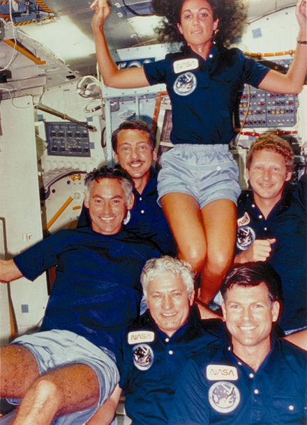 On the maiden voyage of Discovery: Judith Resnik, Henry Hartsfield, Michael L. Coats, Steven A. Hawley, Charles D. Walker, and Richard M. Mullane STS-41-D Crew Enjoying Space - GPN-2004-00024.jpg