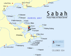 Bait Island - Location of Bait Island in Celebes Sea