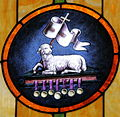Saint Aloysius Catholic Church (Shandon, Ohio) - interior, stained glass, Lamb of God & Seven Seals detail.jpg