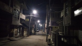 Sainthia - An empty narrow street at night in Sainthia.
