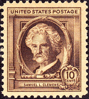 English: US Postage stamp, Samuel Clemens, com...