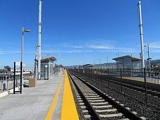 San Bruno station (Caltrain) - Northbound platform at San Bruno station in 2018