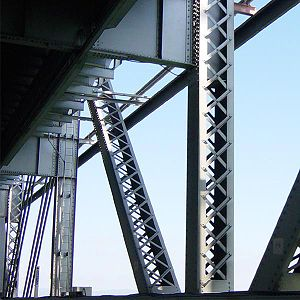 Lattice girder - Laced vertical struts and diagonal ties on the cantilever portion of the abandoned eastern span of the San Francisco–Oakland Bay Bridge)