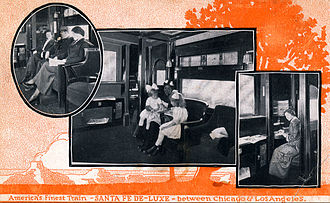 Santa Fe de Luxe - Postcard promotion for the train in 1916. Among the amenities it offered were maid and barber service.