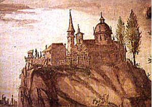 Sacro Monte di Ossuccio - The Sanctuary atop its crag, as depicted in a fresco in Capella XIV.