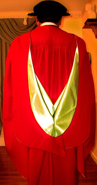 Scarlet (color) - Traditional academic dress of a PhD candidate receiving his degree at McGill University
