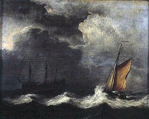 Dreimaster und Fischerboot bei stürmischer See