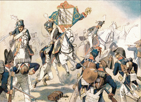 Color print of Prussian horsemen with death's head on their shakos charging through French infantry and capturing a standard
