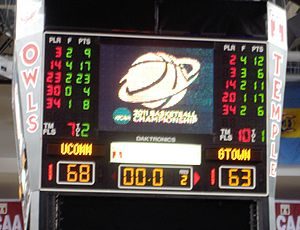Scoreboard at the conclusion of the 2011 Philadelphia regional semifinal between Connecticut and Georgetown Women's basketball teams