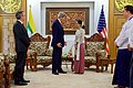 Secretary Kerry Accompanied by U.S. Ambassador to Myanmar Marciel Chats with Myanmar Foreign Minister San Suu Kyi before a Bilateral Meeting in Naypyitaw (27131741136).jpg