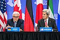 Secretary Kerry Listens to German Foreign Minister Steinmeier Make Remarks at the Press Availability for the Pledging Conference in Support of Iraq (28405224586).jpg