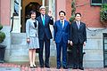 Secretary Kerry Poses With Japanese Prime Minister Abe, Mrs. Abe, Japanese Foreign Minister in Front of Boston Home Before Working Dinner.jpg