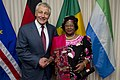 Secretary of Defense Chuck Hagel poses for a photo with Malawi President Joyce Banda prior to a joint meeting with Cape Verde Prime Minister Jose Maria Neves and President Bai Koroma of Sierra Leone at the Pentagon.jpg