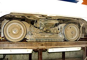 Track brake - The truck of a SEPTA PCC streetcar showing the track brake magnets between the wheels.