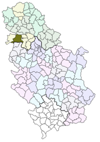 Location of the municipality of Sremska Mitrovica within Serbia