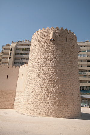 Sharjah Fort - The rearward 'Al Kubs' tower was all that remained after the Fort's demolition in 1970. It has since been faithfully restored by the current Ruler of Sharjah.