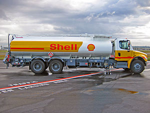 Tank truck - A Shell Jet A refueler tank truck on the ramp at Vancouver International Airport