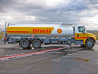 Jet fuel - Shell Jet A-1 refueller truck on the ramp at Vancouver International Airport. Note the signs indicating UN1863 hazardous material and JET A-1.