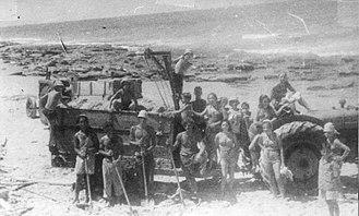 Shefayim - Members of Palmach loading gravel in Shfayim, July 1947