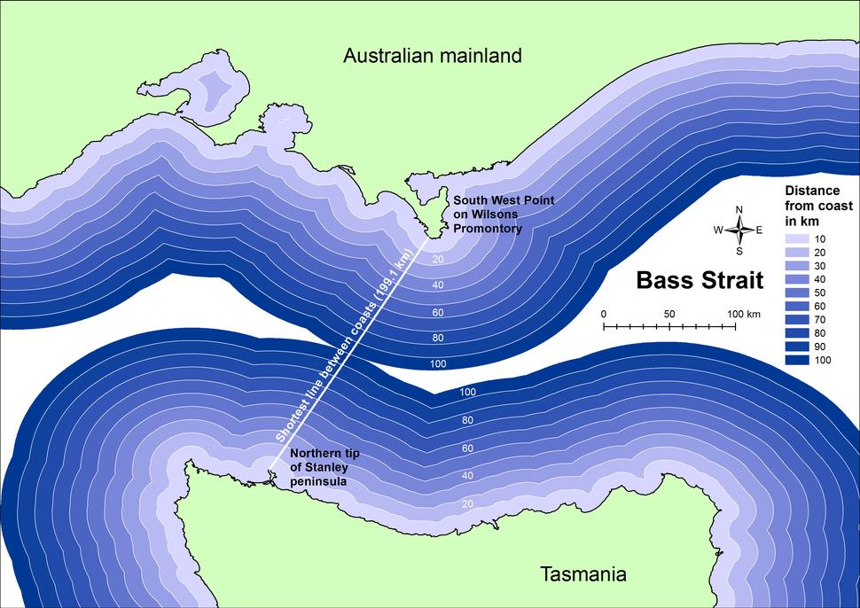 Shortest distance between coasts of Bass Strait