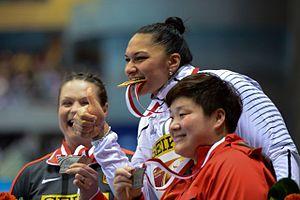 2014 IAAF World Indoor Championships – Women's shot put - The medalists (left to right): Christina Schwanitz, Valerie Adams, Gong Lijiao