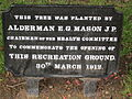 Sign at the commemorative tree, The Arno, Oxton.jpg