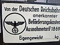 Sign with Swastika Reichsadler. Deutsche Reichsbahn (German Reich Railway) Verkehrsmuseum Nürnberg (Nuremberg Transport Museum) 2011-10-04 Jim Woodward 513 1147.jpg
