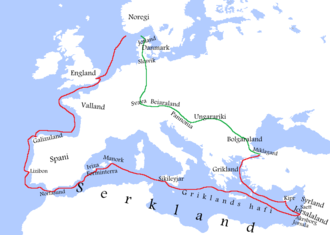 Norwegian Crusade - The route taken by Sigurd I to Jerusalem and Constantinople (red line) and back to Norway (green line) according to Heimskringla. (Legend in Old Norse.)