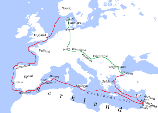 Route of the Norwegian Crusade taken by Sigurd the Crusader. Red: Sea, Green: Land. SigurdNorwegianCrusade1107-1111OldNorse.png
