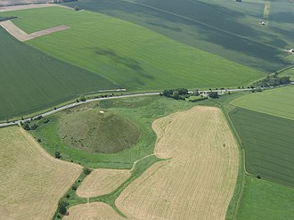 Silbury Hill - Aerial view of Silbury Hill and the A4 road