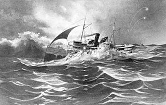 Alaskan (sidewheeler) - painting depicting sinking of Alaskan
