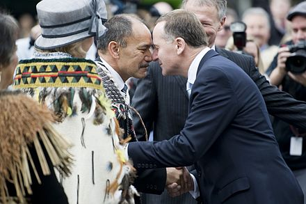 Governor-General Sir Jerry Mateparae performs a hongi with the Prime Minister at his swearing-in ceremony outside parliament, 31 August 2011 Sir Jerry met by the Prime Minister of NZ, Rt Hon John Key - Flickr - NZ Defence Force.jpg
