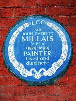 Sir john everett millais bt pra 1829 1896 painter lived and died here