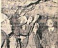 Skupinica si ogleduje manjšo žilo uranove rude stisnjene med kamnite plasti rudnika urana v Žirovskem vrhu 1969.jpg