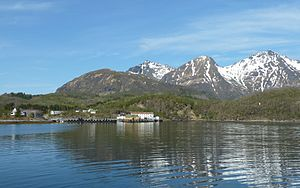 """Skutvika - View of the village, ferry port, and """"Old-Skutvik"""""""