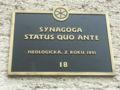 Slovakia Trnava Synagoga tabulka.JPG