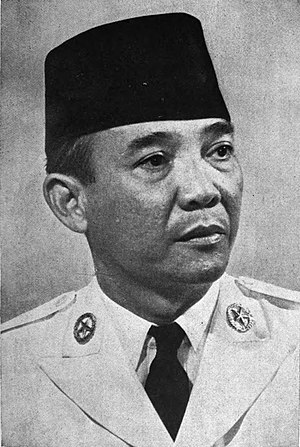 Transition to the New Order - Sukarno, President of Indonesia (1945-1967) in undated photo
