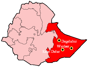 2007–08 Ethiopian crackdown in Ogaden - Ethiopian Somali region and major flashpoints