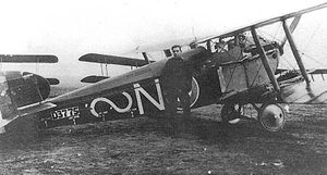 "No. 87 Squadron RAF - A Sopwith 5F.1 Dolphin of No.87 Squadron in France, 1918 - the squadron's ""lazy-S"" unit insignia of that time is painted in white."