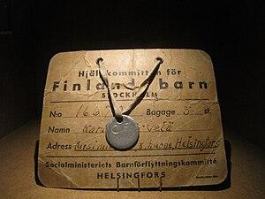 Finnish war children - Identification document and tag of a Finnish war child.