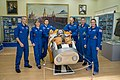 Soyuz MS-09 crew and backup crew in the Korolev Museum.jpg