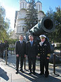 Soyuz TMA-01M crew in front of the Tsar Cannon.jpg