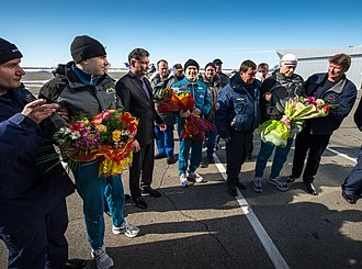 Kostanay - Soyuz TMA-06M crew members are greeted at the Kostanay Airport