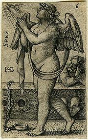 """Spes or """"Hope""""; engraving by Sebald Beham, German c1540"""